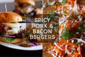 Spicy Pork and Bacon Burgers