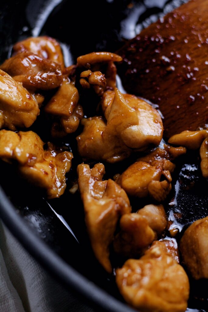 Quick Teriyaki Sauce and cooking chicken.