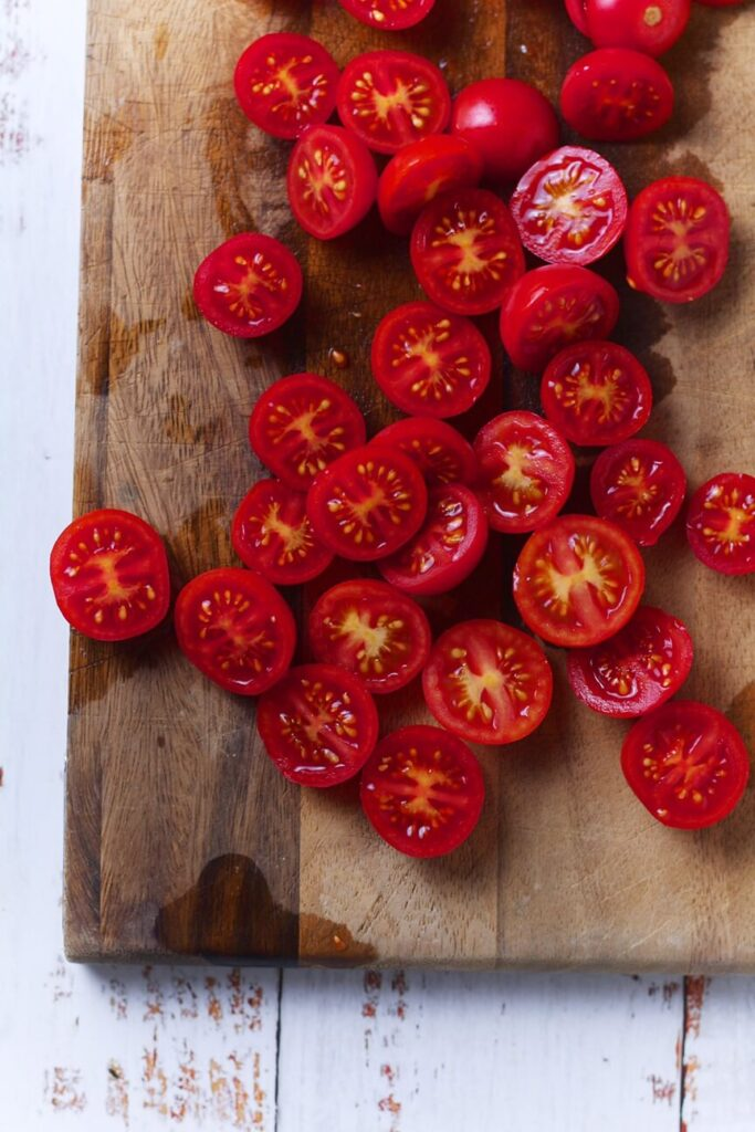 Tomatoes for Italian Caprese Pasta Salad