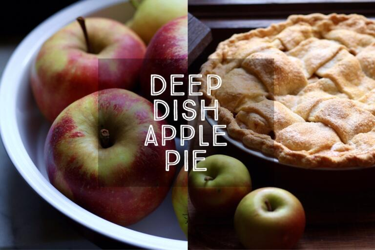 Sweet apple filling, lightly spiced with cinnamon, all wrapped in a golden, buttery crust. Deep Dish Apple Pie is a classic American recipe and perfect for all the delicious apples in season in autumn.