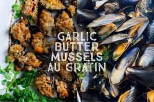 Mussel au gratin or as the Italians call them Cozze al Forno are a fantastic starter or light meal for two. So quick and easy to prepare they are packed with Mediterranean flavour.