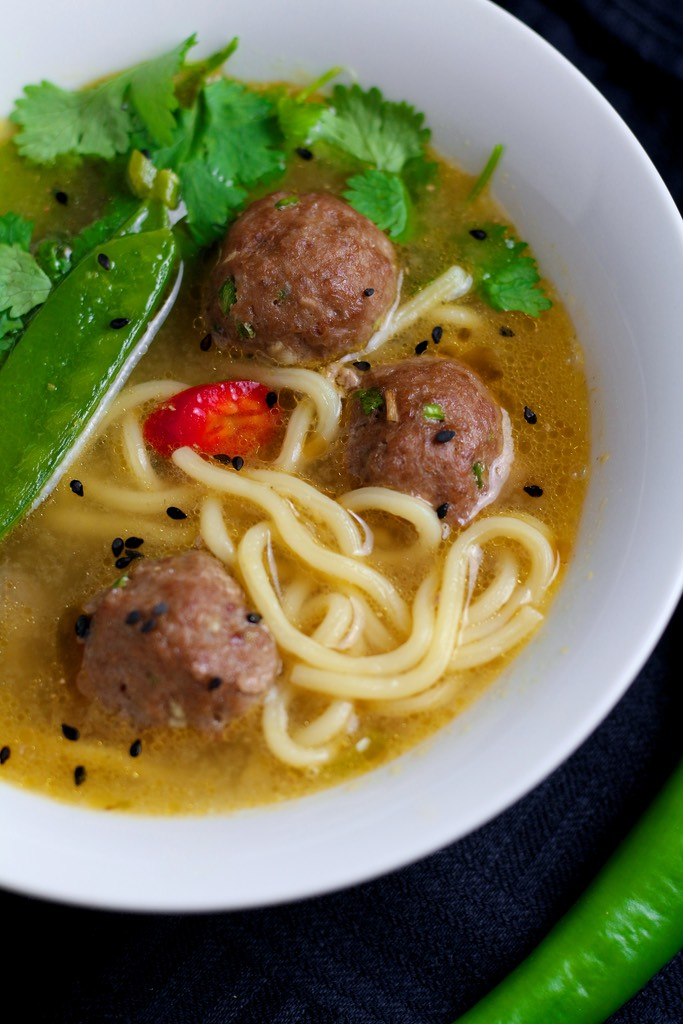 Spicy, fragrant and bursting with flavour, Asian inspired Pork Meatball  Soup with noodles will chase away the winter blues. Ready in under 30 minutes, it is ideal for a weeknight dinner.