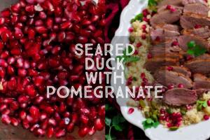 Juicy duck breast served with a sweet and sour pomegranate sauce. Seared Duck with Pomegranate is a delicious meal for two or perfect for a dinner party. Serve with jewelled couscous for a showstopper dinner.