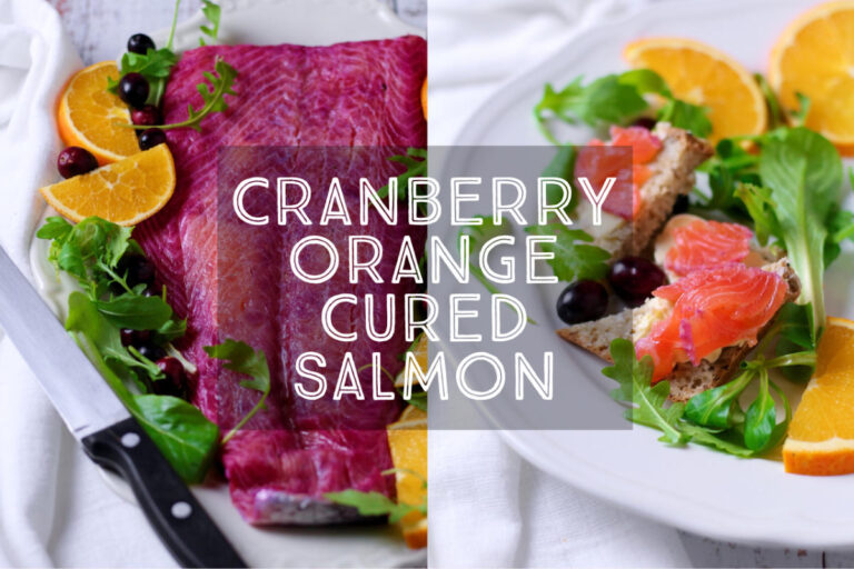 With beautifully bright colours Cranberry Orange Cured Salmon is a wonderful dish to serve as a starter at your festive table. It's so simple to make and home and delicious with a creamy horseradish sauce.