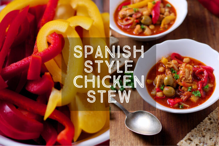 Spanish Style Chicken Stew is a wonderfully warming Spanish or North African inspired dish, loaded with chicken, spicy sausage, nutty chickpeas and sweet peppers.